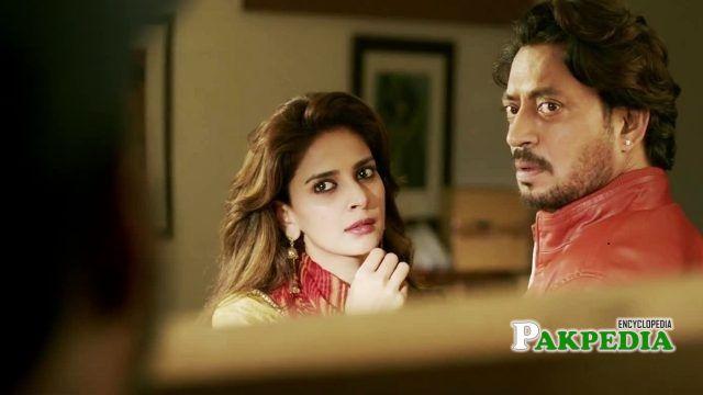Saba Qamar with Irfan Khan on set of Hindi Medium