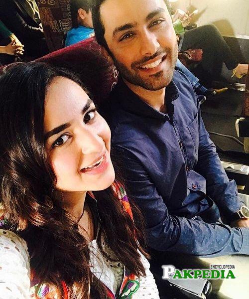 Ahmed with Yumna Zaidi on set