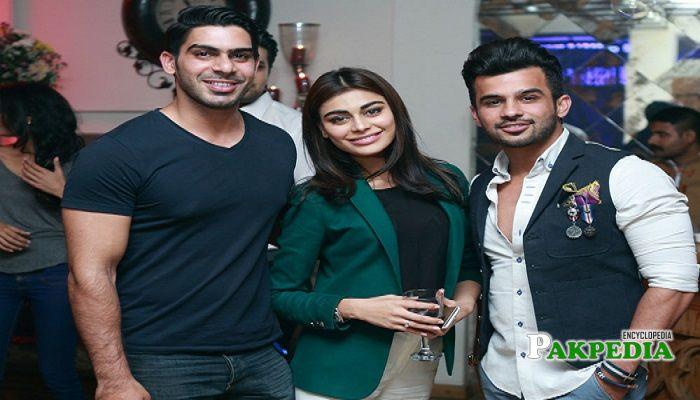 Waleed Khalid with Sadaf Kanwal and Fahad at dinner