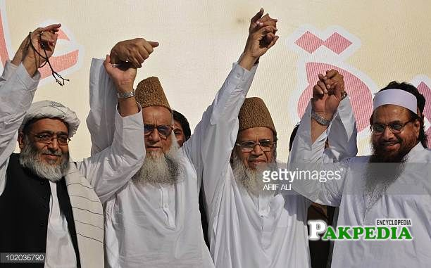 Hafiz Hussain Ahmed with other leaders of his party
