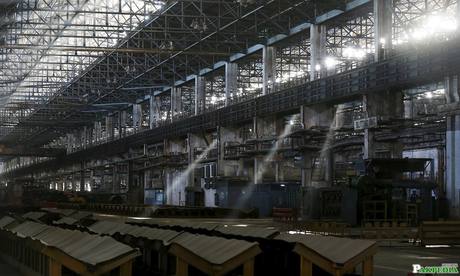 A general view of the deserted hot strip mill department of the Pakistan Steel Mills
