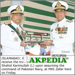 Admiral Muhammad Afzal Tahir Receiving the Traditional Scroll From Admiral Shahid Karimullah