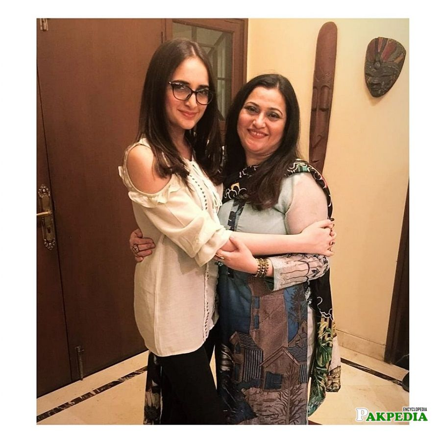 Areeba Shahood with her mother Saima Alvi
