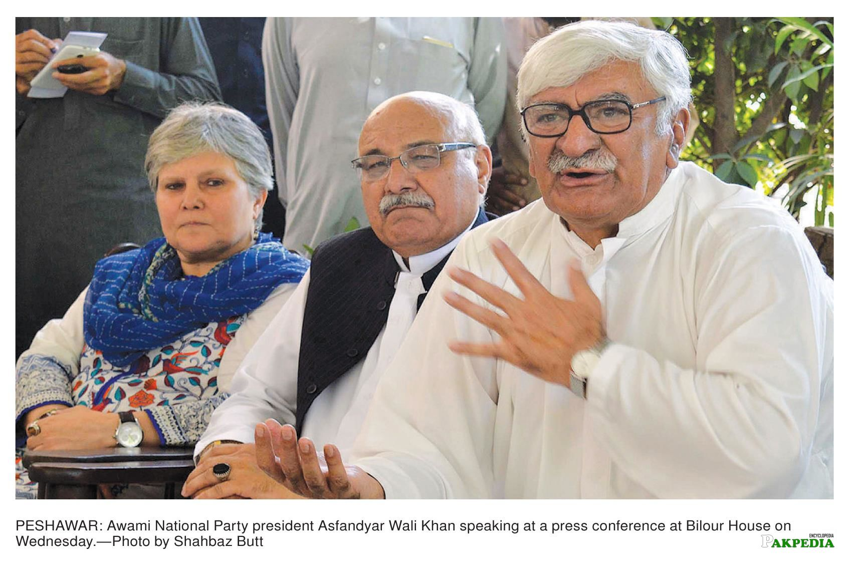 Ghulam Ahmed Bilour, Bushra Gohar and Amir Haider Hoti, were present