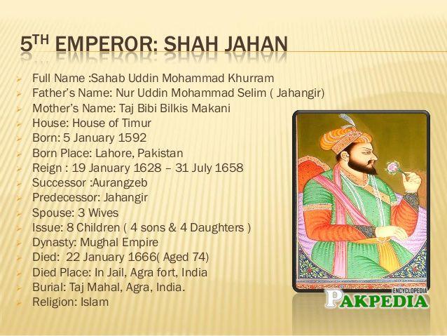 Brief history of Shahjhan