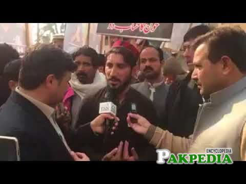 While giving interview after his dharna