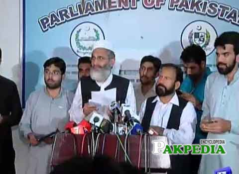 Siraj ul Haq talking to media
