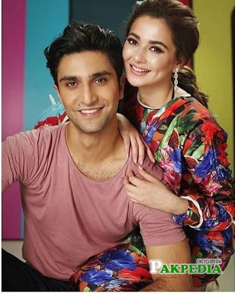 Hania amir with ahad during a photoshoot for their film