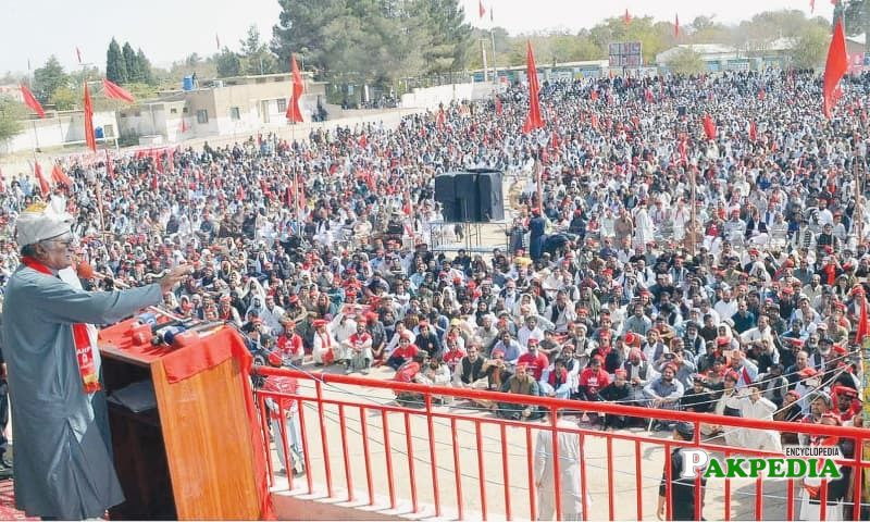Awami National Party chief Asfandyar Wali Khan addresses a public meeting
