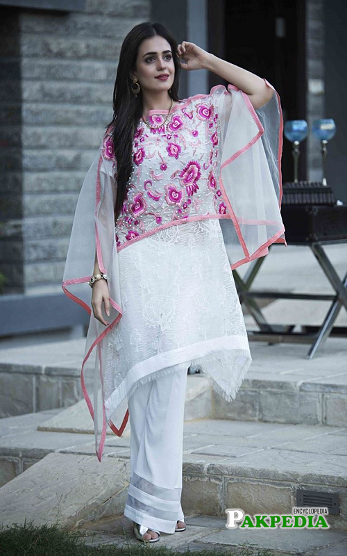 White Pink Organza Dress