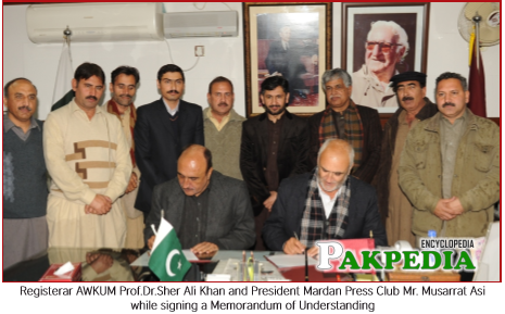 Registrar AWKUM Prof. Dr. Sher Ali & President Mardan Press Club with Ihsan Ali and Others Member