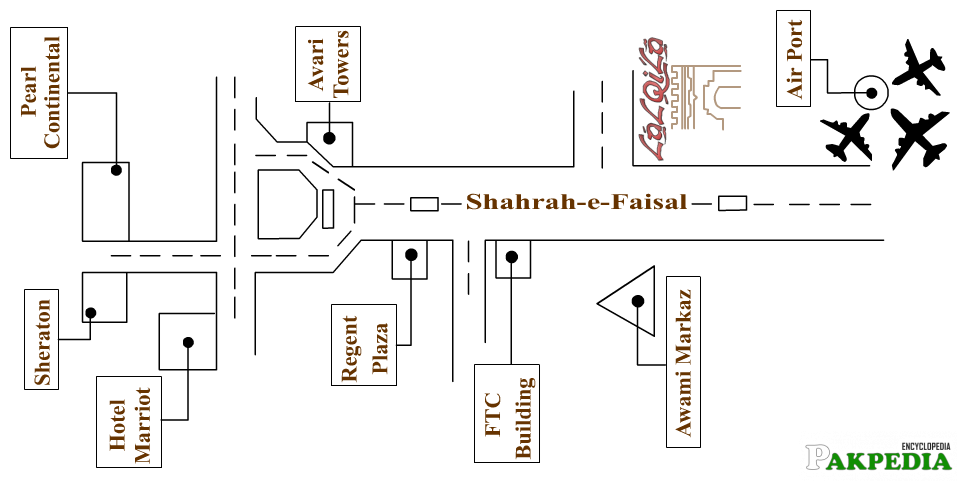Map of Shahrah-e-Faisal Karachi