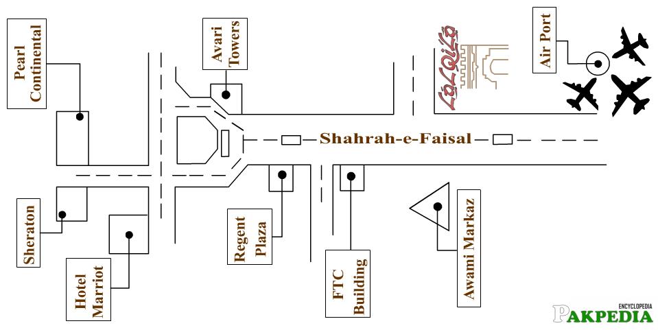 Map of Shahrah-e-Faisal Karachi
