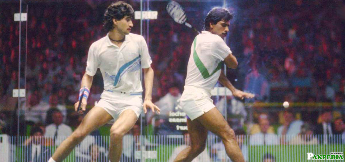 Jansher Khan with jahangir khan