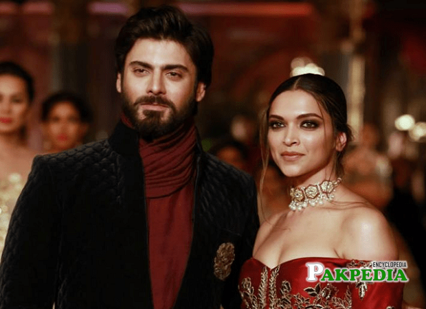 Fawad Khan on a ramp with Deepika Padokon
