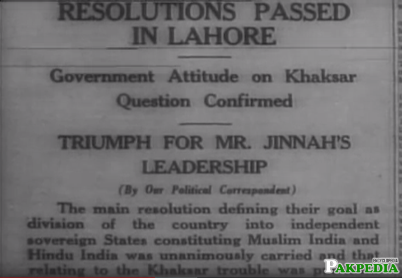 words of Lahore Resolution