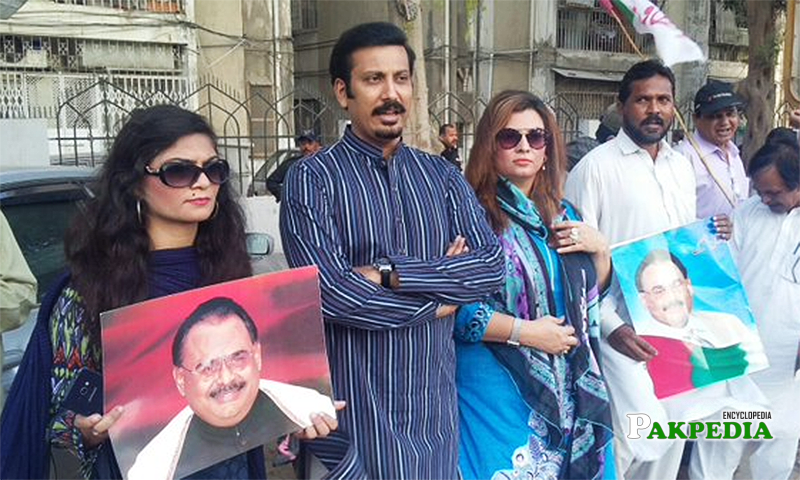 During protest with other leaders