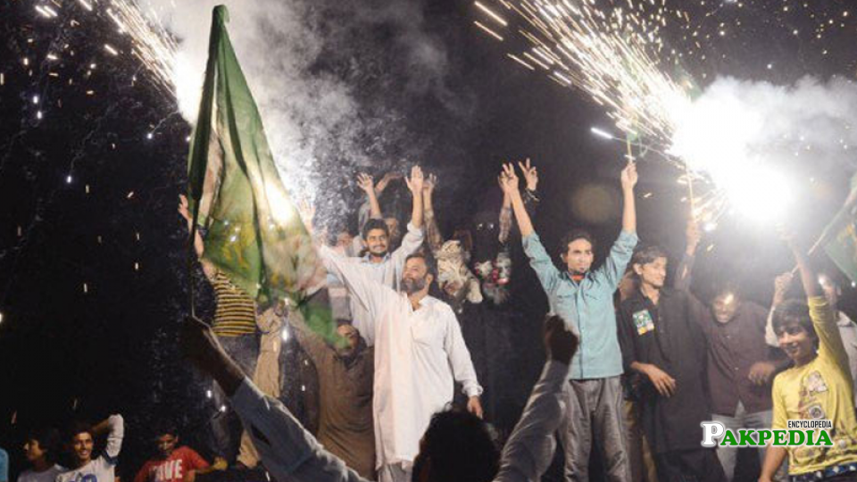 celebrations by PML-N supporters after winning the election