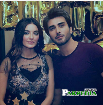 Sadia with Imran Abbas at her birthday party