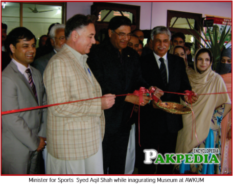 Minister for Sports Syed Aqil Shah While inagurating Museum at AWKUM